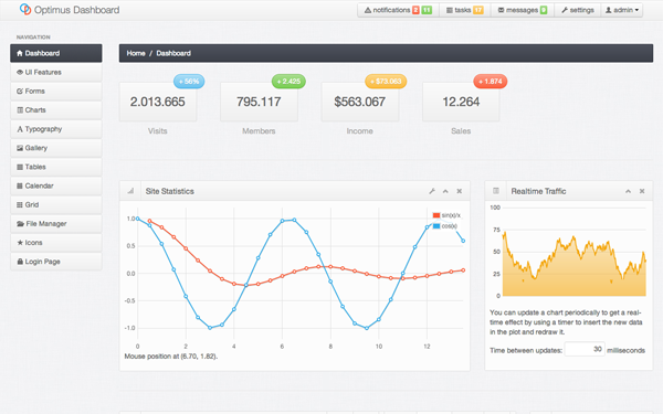 Optimus Dashboard Admin Template